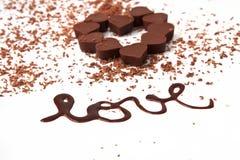 Chocolates da forma do coração Imagens de Stock