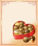 Chocolates de la tarjeta del día de San Valentín Foto de archivo