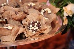 Chocolates decorados imagens de stock