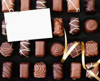 Chocolates and card Royalty Free Stock Image