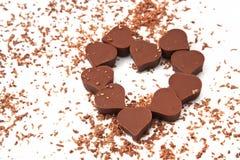Chocolates del corazón Fotografía de archivo