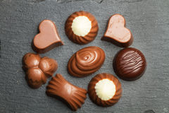 Chocolates with different shapes Royalty Free Stock Image