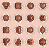 Chocolates of different shapes top view Royalty Free Stock Image