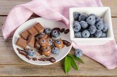 Chocolates e pó de cacau com mirtilos em um prato de porcelana foto de stock royalty free