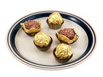 Chocolates en la placa Imágenes de archivo libres de regalías