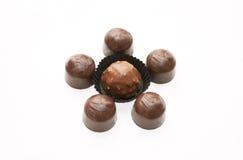 Chocolates en un fondo blanco Imagen de archivo