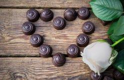 Chocolates and flower Stock Photo