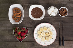 Chocolates fruits and biscuits Stock Photo