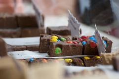 Chocolates, fudges and other candies Royalty Free Stock Images