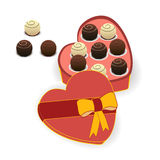 Chocolates in a gift box. A box of chocolates in shape of heart Stock Images