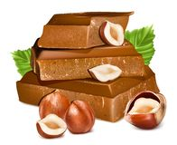 Chocolates with hazelnuts. Stock Photos