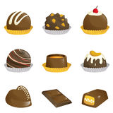 Chocolates icons. A vector illustration of different kinds of chocolates icons Royalty Free Stock Images