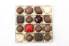 Free Chocolates In Golden Box Isolated On White  Stock Photo - 19979110
