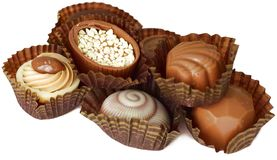 Chocolates isolados no branco Fotografia de Stock
