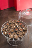 Chocolates in a luxurious glass dish Royalty Free Stock Photo