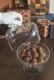 Chocolates in a luxurious glass dish Royalty Free Stock Photos
