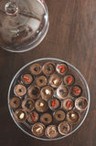 Chocolates in a luxurious glass dish Stock Image