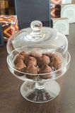 Chocolates in a luxurious glass dish Stock Photo