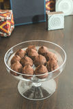 Chocolates in a luxurious glass dish Stock Photography
