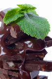 Chocolates and mint. Stock Images