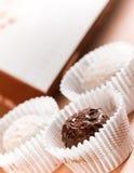 Chocolates oscuros y blancos Foto de archivo libre de regalías
