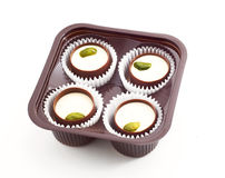 Chocolates with pistachio nuts Royalty Free Stock Image