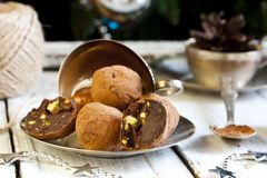 Chocolates with pistachio praline, cognac and liqueur Stock Photography