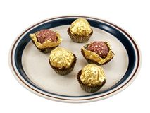 Chocolates on plate Royalty Free Stock Images