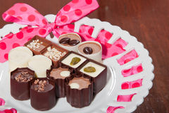 Chocolates on a Plate Stock Images