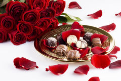 Chocolates and roses Stock Photo