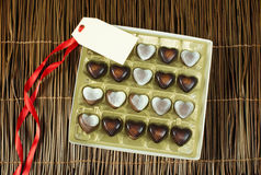 Chocolates in the shape of hearts Stock Image