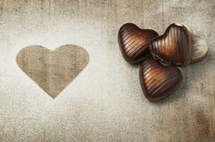 Chocolates in the shape of hearts Stock Photography