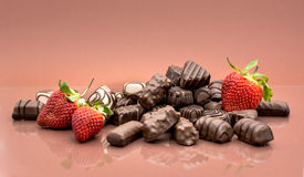Chocolates and strawberries Royalty Free Stock Image