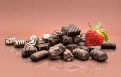 Chocolates and strawberry Royalty Free Stock Images