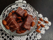 Chocolates. Chocolates with a stuffing from almonds Stock Images