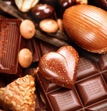 Chocolates sweets background Stock Images