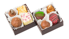 Chocolates and sweets, packed in boxes Royalty Free Stock Photography