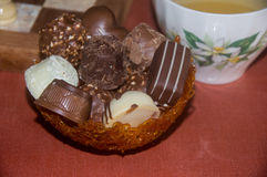 Chocolates in a Toffee Basket Stock Images