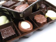 Chocolates in trays Stock Images