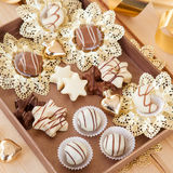 Chocolates and truffles for christmas Stock Photos