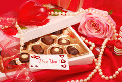 Chocolates for Valentine. Box of  chocolates with love card for Valentine`s day Royalty Free Stock Photos