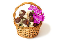 Chocolates in a wattled basket on a white background. Royalty Free Stock Images