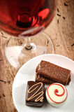 Chocolates and Wine Royalty Free Stock Photo
