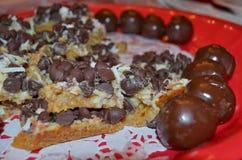 Chocolatey-Nachtische lizenzfreies stockbild