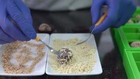 Chocolatier que faz uma trufa Bola mestra do chocolate da coberta com amêndoa esmagada filme