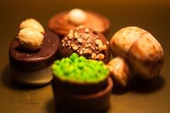 Chocolats Assortiment des chocolats de noir, bruns et blancs fins Photos libres de droits