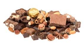 Chocolats délicieux d'isolement sur le fond blanc Photographie stock