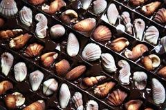 Chocolats dans un plateau Photos stock