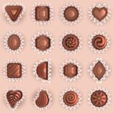 Chocolats de vue supérieure de différentes formes Image libre de droits
