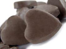 Chocolats en forme de coeur Photos stock